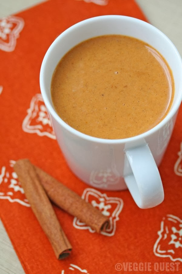 Skinny vegan pumpkin chai latte from www.Veggie-Quest.com