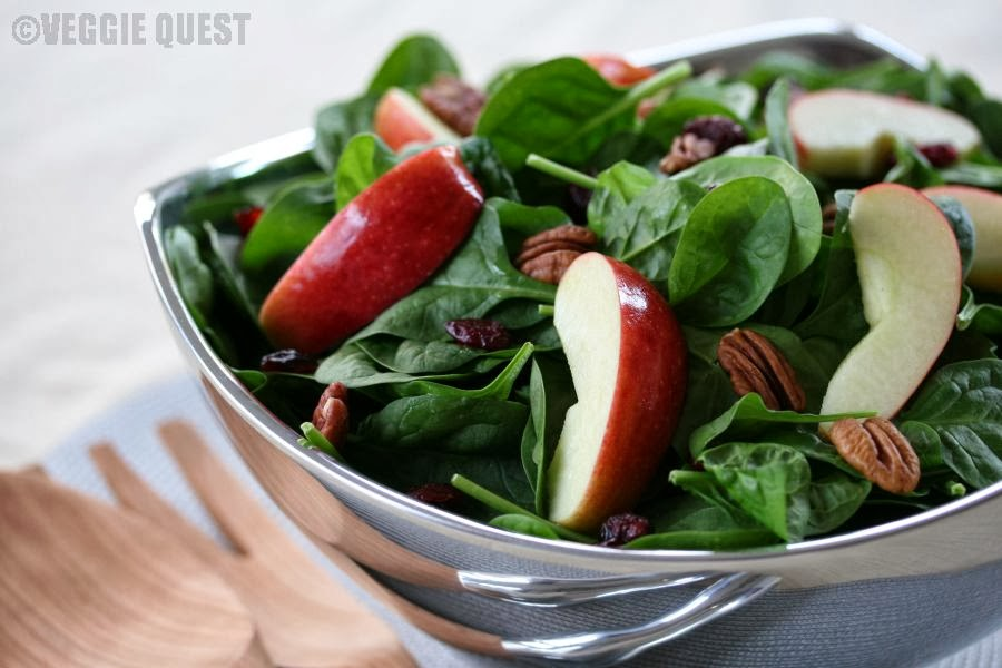 Spinach, Cranberry & Pecan Salad + 4 Ways to Be Good to Yourself Now