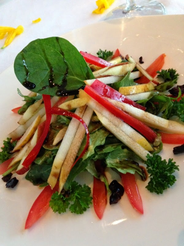 Salad: Baby greens and arugula with black olives, apple, pear, red peppers and balsamic reduction