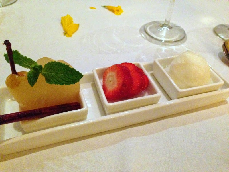 Dessert: Trio of poached pear with cinnamon and cloves, fresh strawberries, and lime sorbet
