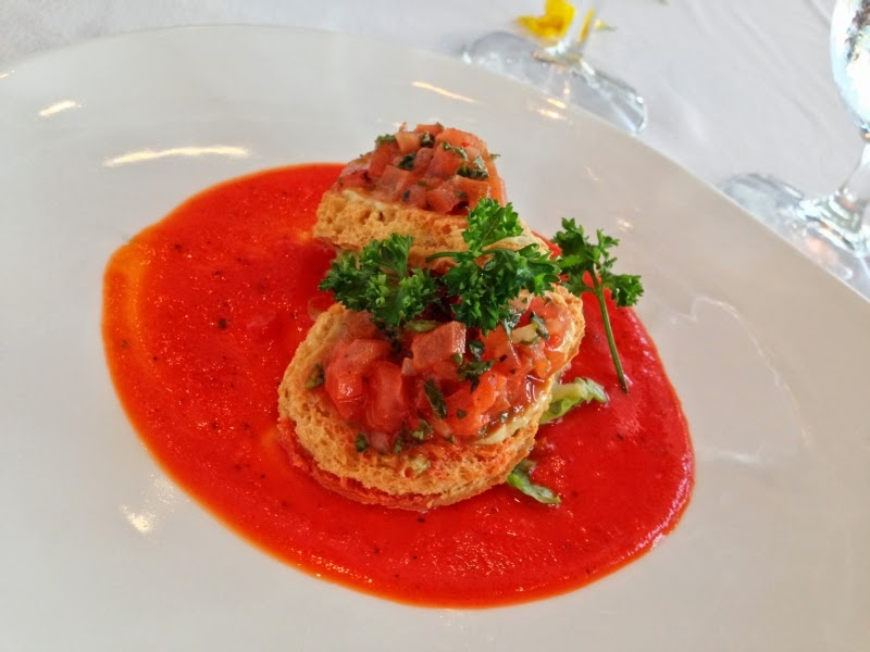 Starter: Gluten-free toast points with herbed lima bean dip andfresh tomatoes over red pepper coulis
