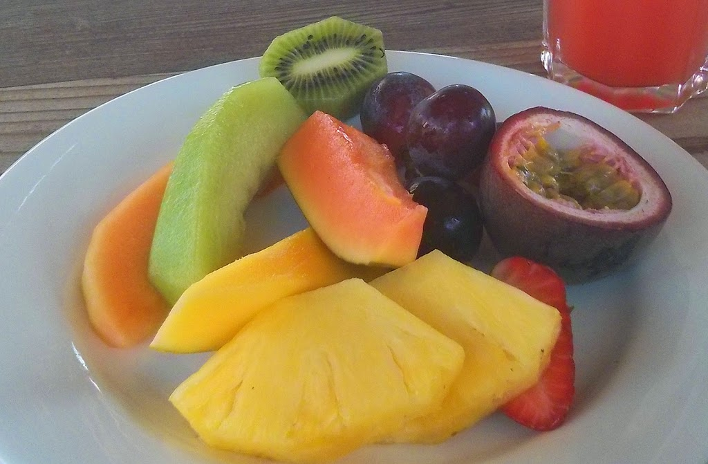 Okay, this was actually from a lunch, but I had a huge fruit plate with every breakfast!