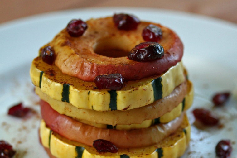 Delicata Squash Rings with Cinnamon Apples