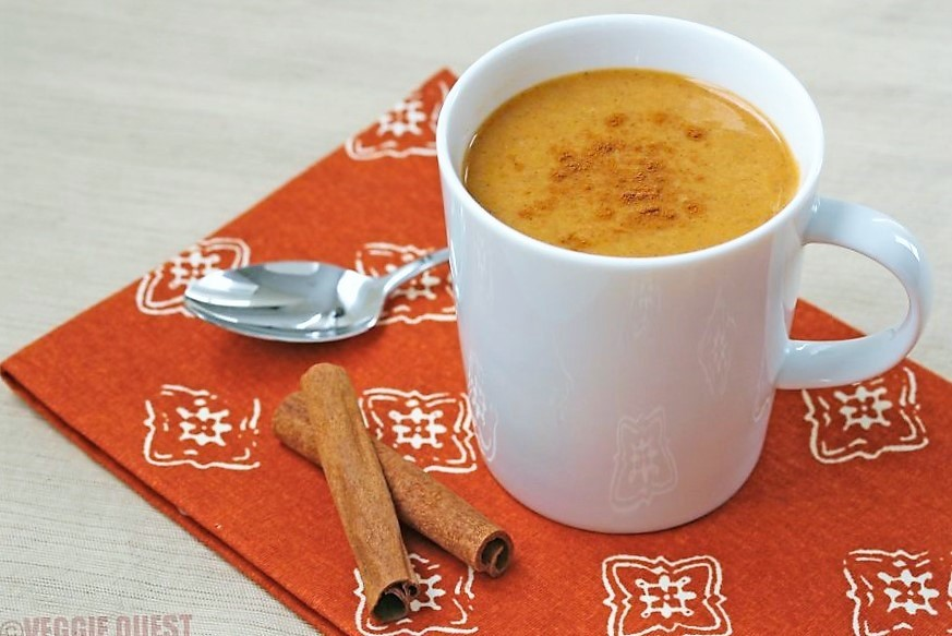 Low-cal vegan pumpkin chai latte from www.Veggie-Quest.com