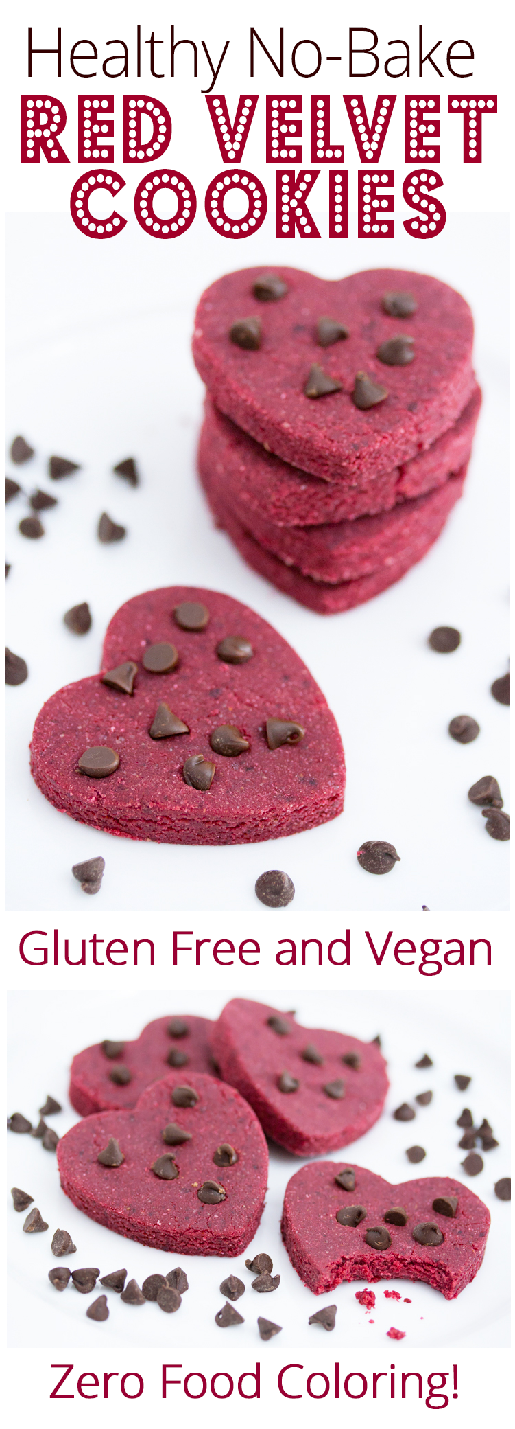 Skinny No-Bake Red Velvet Cookies (Gluten Free, Vegan)