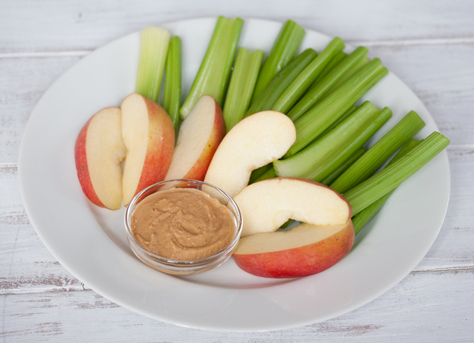 Apples and celery with peanut butter