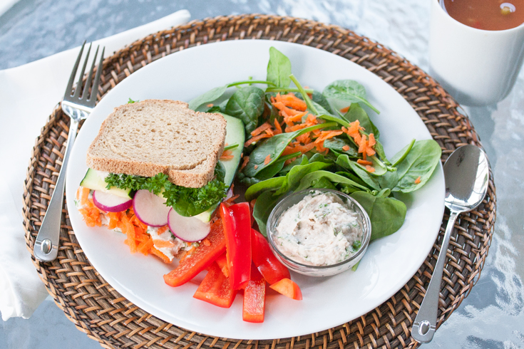 Ultimate veggie sandwich with soup and salad