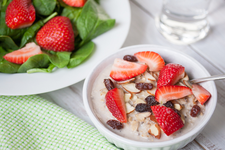 Strawberry-Salad-and-Coconut-Oatmeal