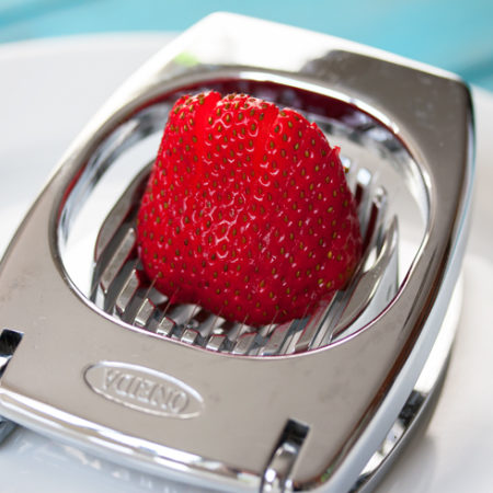 Strawberry sliced with an egg slicer