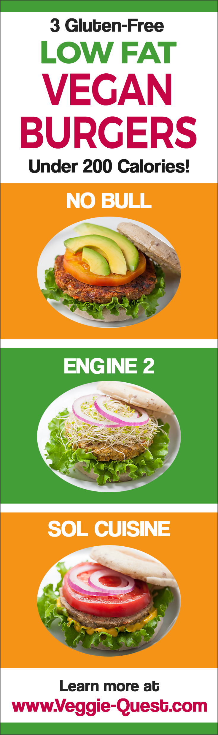 3 Low-Fat, Gluten-Free, Vegan Burgers You Can Buy Under 200 Calories Each! McDougall friendly with less than 3 grams of fat per burger.
