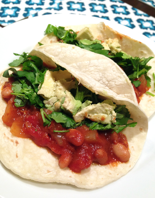Veggie chili makes a cheap and tasty taco filling
