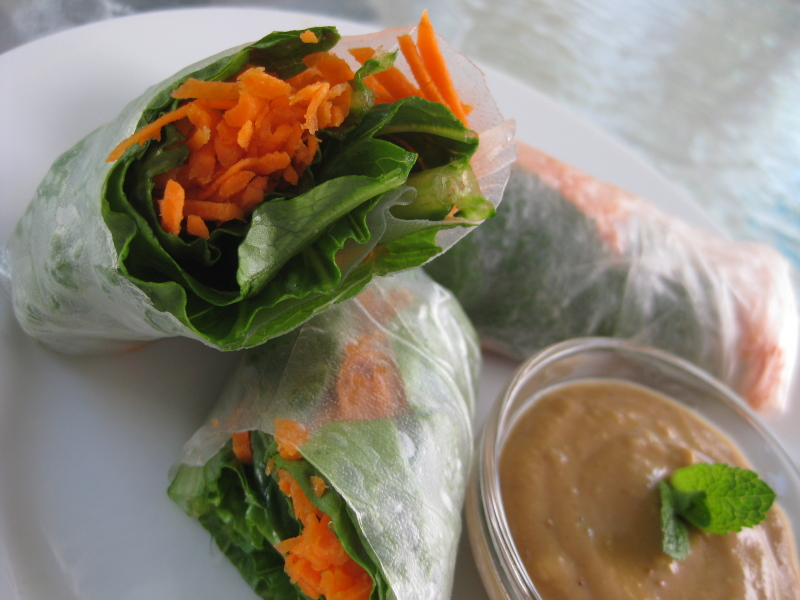 Vegetarian Summer Rolls with Cashew Dipping Sauce