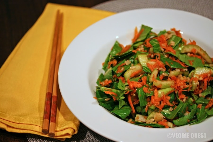 Veggie-rich Busy Bowl with baby bok choy, carrots, green onions, fresh ginger, and a touch of gluten-free soy sauce.