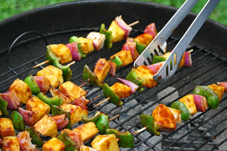 Barbecued Vegetable Kebab Grilling