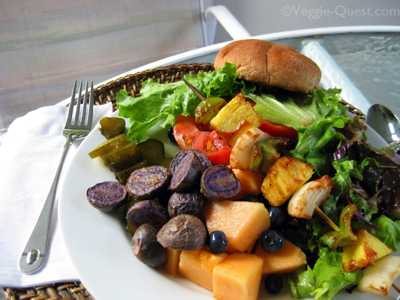 Quick and easy plant-based cookout menu in action. (There's a veggie burger under there somewhere!)