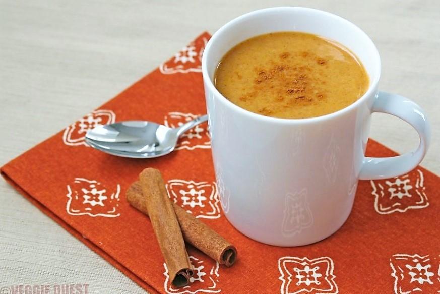 Low-cal vegan pumpkin chai latte from www.Veggie-Quest.com