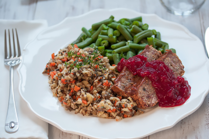 Vegan quinoa loaf with clove-spiced date sauce and grain-free stuffing. From www.Veggie-Quest.com