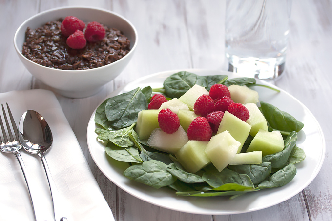Chocolate zucchini oatmeal and honeydew