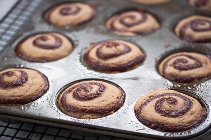 Low fat gluten free vegan cinnamon roll muffins