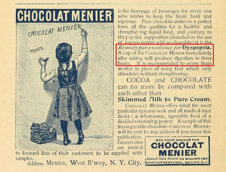 1892 Menier ad - Cocoa for dyspepsia