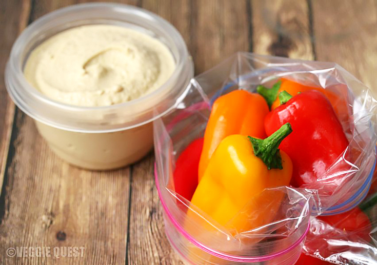 Baby sweet peppers and hummus