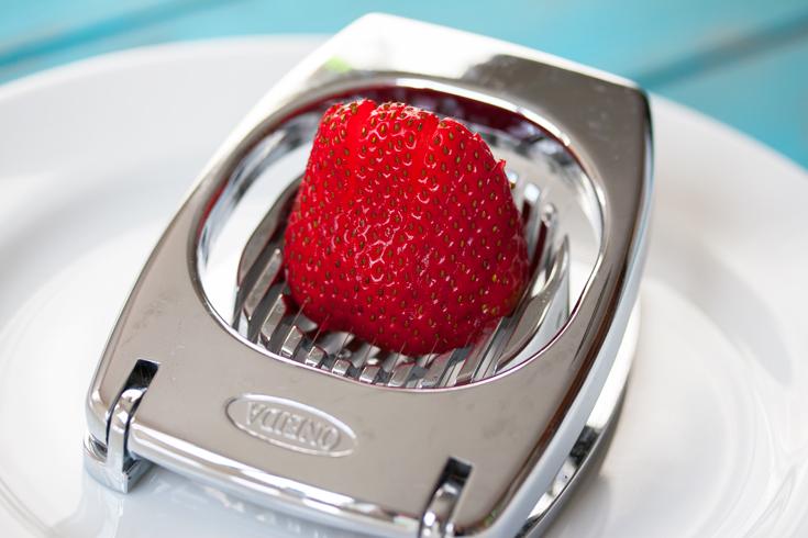 Strawberry sliced with an egg slicer