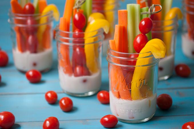Vegetable sticks in glass mason jars