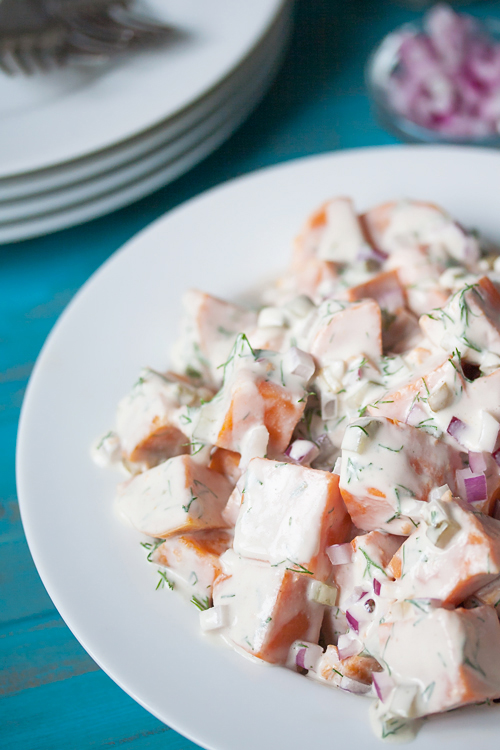 Soy-free, oil-free & vegan Southern Sweet Potato Salad! So easy you can make it without turning on your stove.