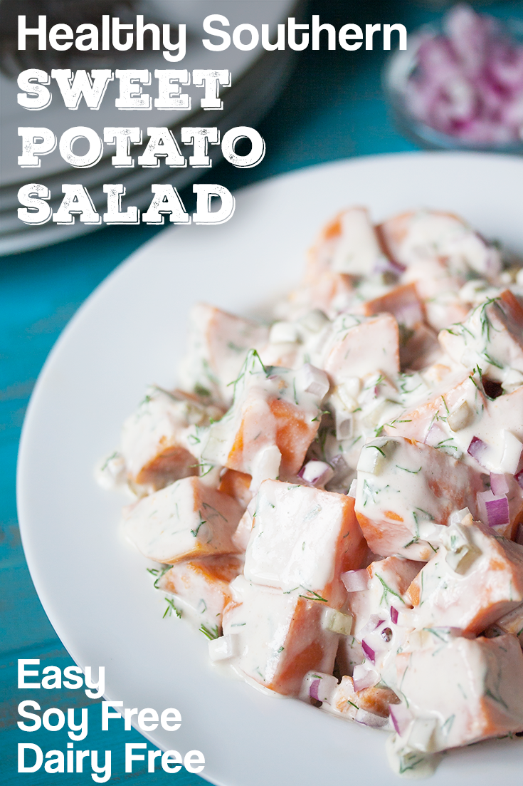 You'll be in heaven with this creamy Southern Sweet Potato Salad. Healthy and allergy friendly, it's dairy free, soy free, oil free and vegan. So easy you can make it without turning on your stove! Get the Recipe at www.Veggie-Quest.com